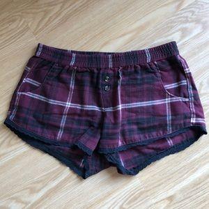 FREE PRESS Burgundy Plaid Flannel Sleep Shorts, XS